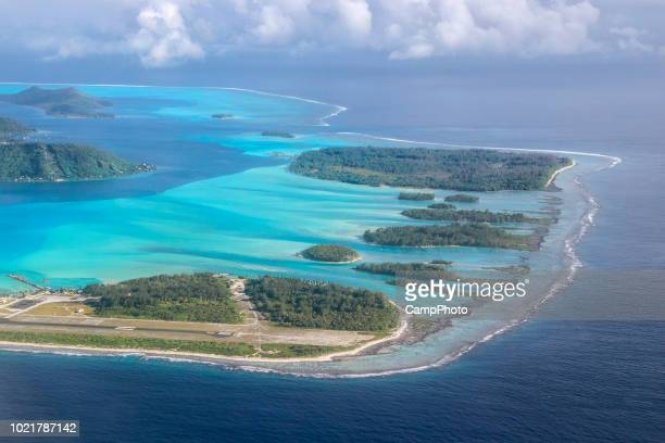 above bora bora airport - pacific islands stock pictures, royalty-free photos & images