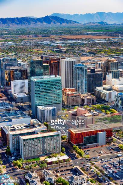 above downtown phoenix arizona - phoenix arizona stock photos and pictures