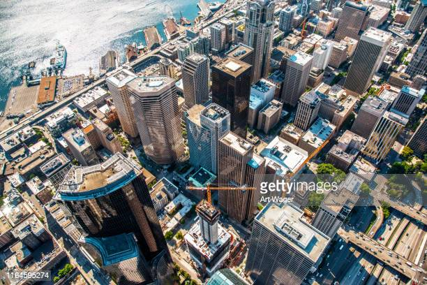above downtown seattle - seattle stock pictures, royalty-free photos & images