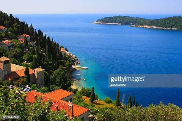 Above Dubrovnik countryside with turquoise mediterranean adriatic beach, Croatia