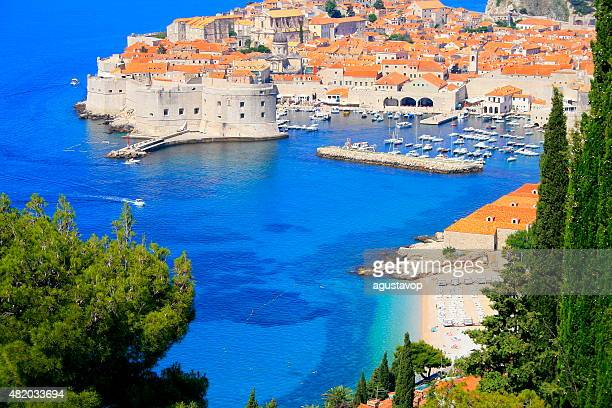 Above Dubrovnik old town with turquoise mediterranean adriatic beach, Croatia
