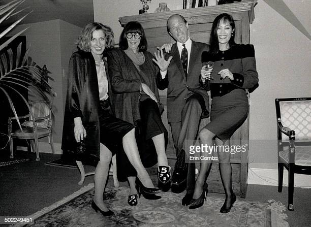 Above from left Marilyn Brooks' assistant Grace Wiebe in a Brooks design designer Marilyn Brooks businessman Michael Cormack with wife Sunny Choi in...