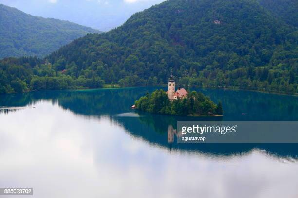 Above idyllic Bled Jezero (lake) , beautiful landcape in Slovenia