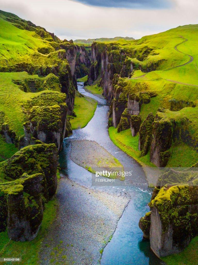 Above of Fjadrargljufur canyon in summer, Iceland : Stock-Foto
