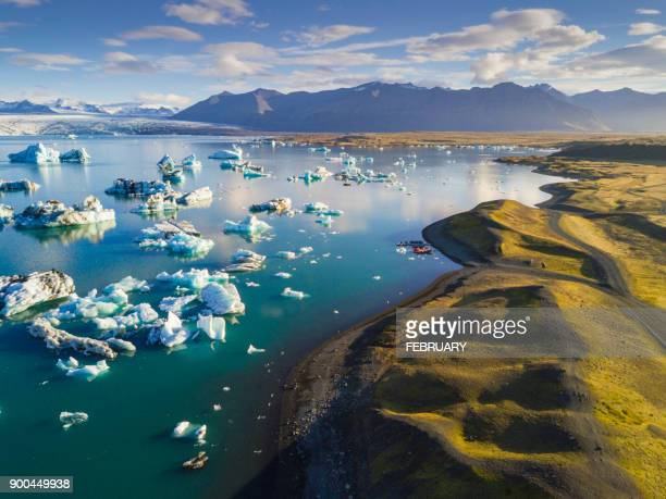 above of jokulsarlon - glacier lagoon stock photos and pictures