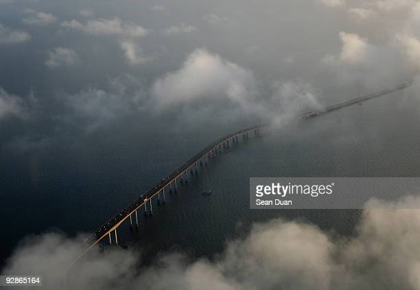 above san mateo bridge - san mateo county stock pictures, royalty-free photos & images