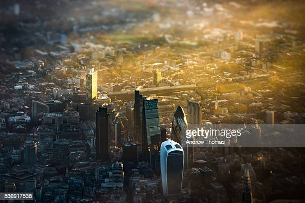Above the city London at sunrise