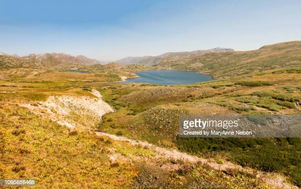 above the highland mary lake panorama - mary lake stock photos and pictures