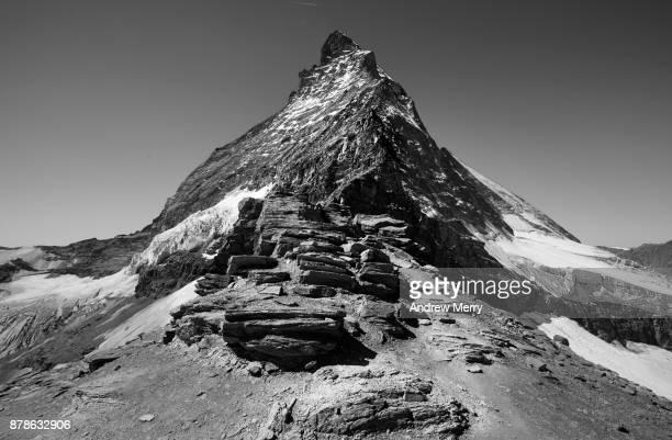 Above the Hörnli Hut (Hörnlihütte), base camp Matterhorn. This the beginning of the technical climb to the Matterhorn summit