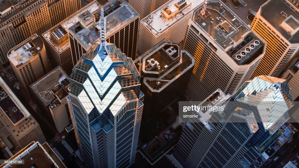 Above the One and Two Liberty Place in Philadelphia, PA : Stock Photo