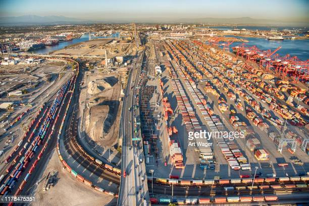 above the port of long beach california - port of los angeles stock pictures, royalty-free photos & images