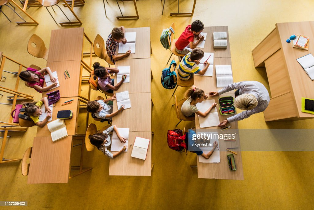 Above view of a class at elementary school. : Stock Photo