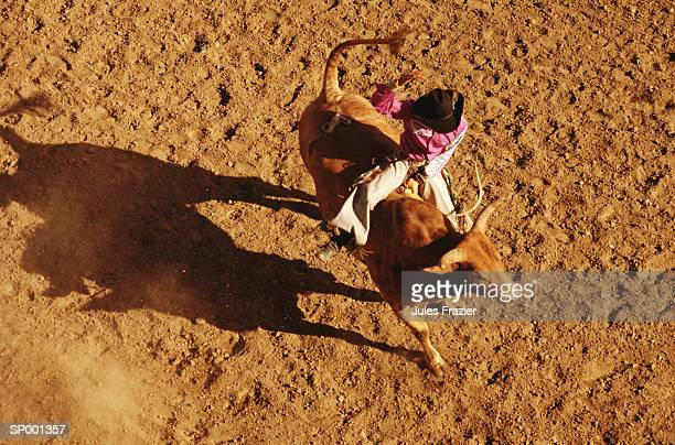 Above View of a Cowboy Riding a Bull