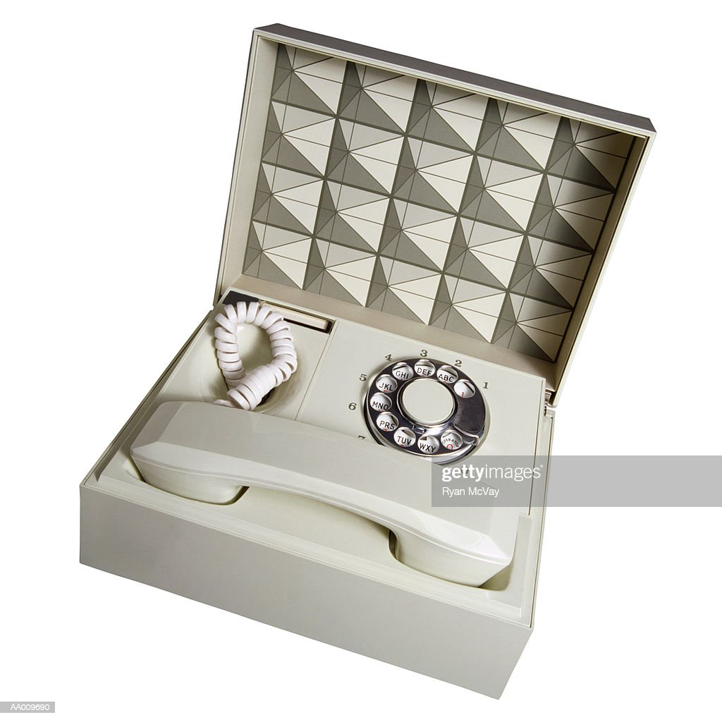 Above View of a Telephone in a Box : Stock Photo