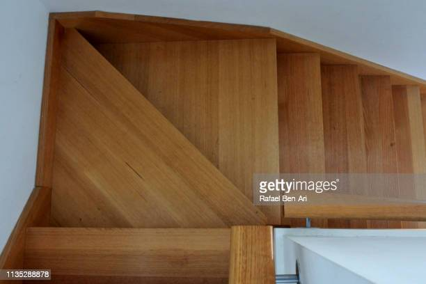 Above view of a wooden stairs pattern