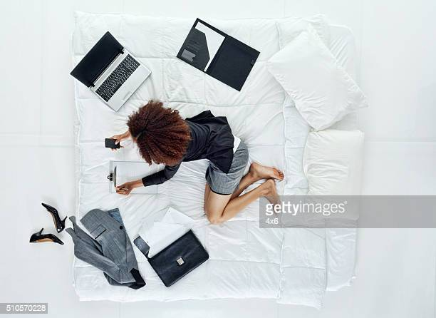 Above view of businesswoman using phone