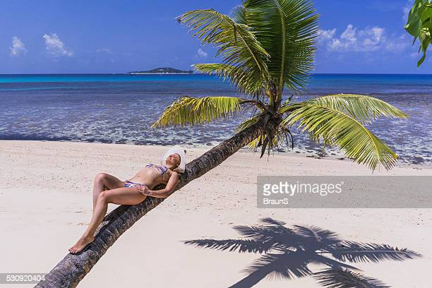 Above view of carefree woman relaxing on a palm tree.