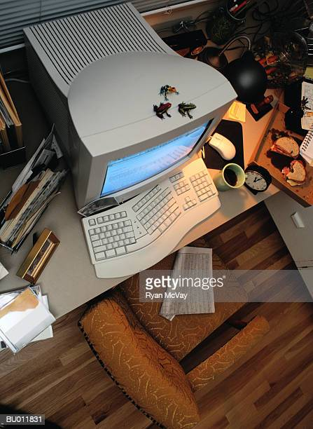Above View of Computer on an Office Desk