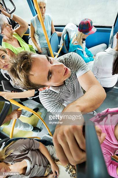 Above view of crowded bus.