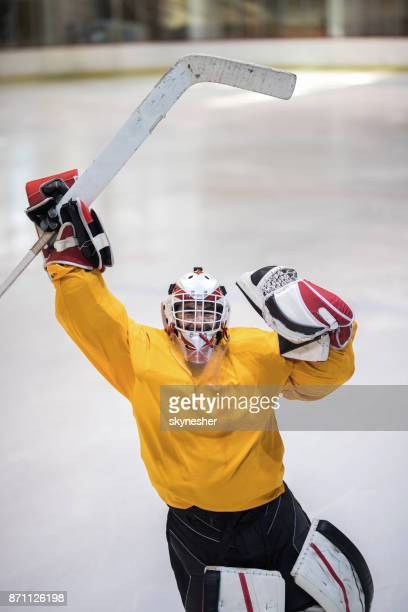 above view of happy ice hockey goalkeeper celebrating the victory. - ice hockey glove stock pictures, royalty-free photos & images