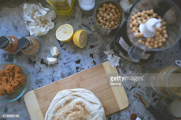 Above View of Ingredients for Hummus