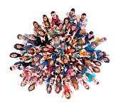 Above view of large group of people with raised arms.