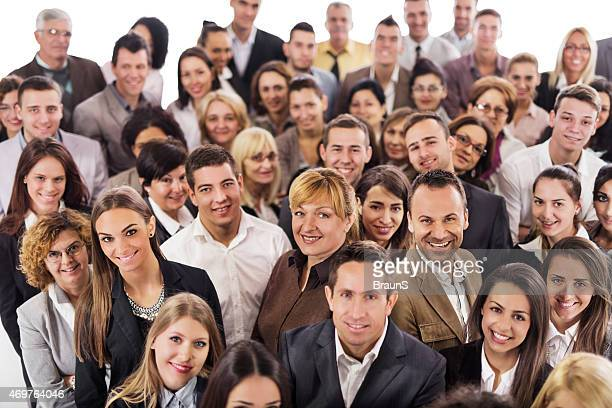 Above view of large group of smiling business people.