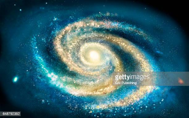 Above view of the Milky Way From above the Milky Way appears as a spiral that rotates on itself around a nucleus