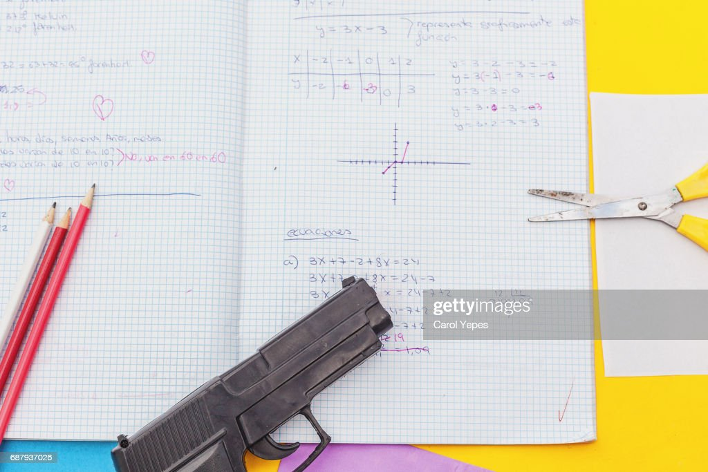 above view student notebook and handgun : Stock Photo