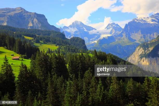 上記のヴェンゲン、ラウターブルンネン渓谷の高角度のビュー、ファリーは物語の風景: 牧歌的な高山の谷や牧草地、劇的なスイス雪のアルプスで、のどかな田園地帯、ベルナーオーバーラント、スイス アルプス、スイス