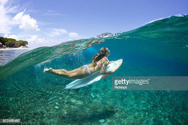 above/below duckdive surfer girl - seductive women stock pictures, royalty-free photos & images