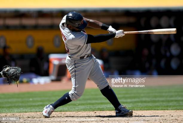 Abraham Almonte of the Cleveland Indians bats against the Oakland Athletics in the top of the fifth inning at Oakland Alameda Coliseum on July 16...