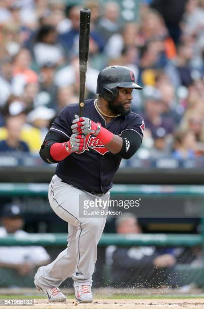 Abraham Almonte of the Cleveland Indians hits a tworun single against the Detroit Tigers during the first inning at Comerica Park on September 2 2017...