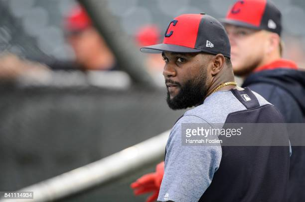 Abraham Almonte of the Cleveland Indians looks on during batting practice before the game against the Minnesota Twins on August 16 2017 at Target...