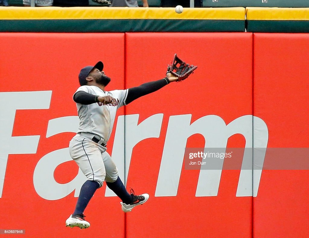 Abraham Almonte #35 of the Cleveland Indians makes a leaping catch for an out on a fly ball hit by Matt Davidson #24 of the Chicago White Sox (not pictured) during the eighth inning at Guaranteed Rate Field on September 4, 2017 in Chicago, Illinois.