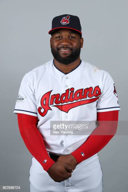 Abraham Almonte of the Cleveland Indians poses during Photo Day on Wednesday February 21 2018 at Goodyear Ballpark in Goodyear Arizona