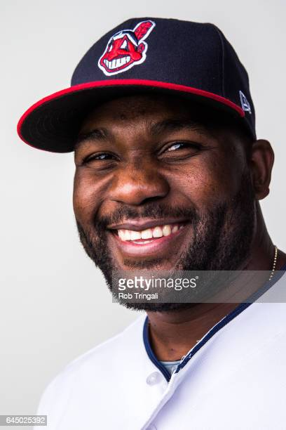 Abraham Almonte of the Cleveland Indians poses for a portrait during Indians Photo Day at the Goodyear Sports Complex on February 24 2017 in Goodyear...