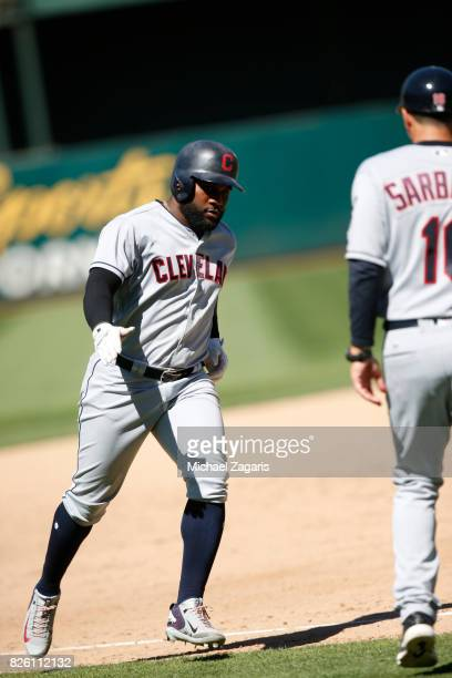 Abraham Almonte of the Cleveland Indians runs the bases after hitting a home run during the game against the Oakland Athletics at the Oakland Alameda...