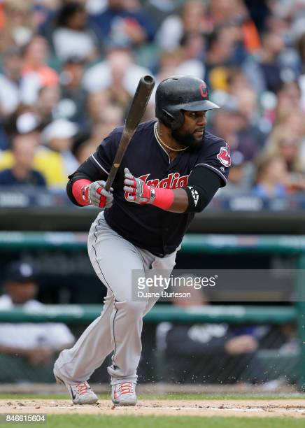 Abraham Almonte of the Cleveland Indians singles against the Detroit Tigers during the first inning at Comerica Park on September 2 2017 in Detroit...