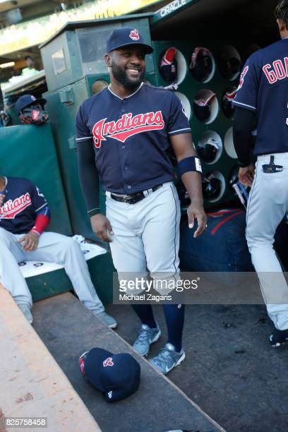 Abraham Almonte of the Cleveland Indians stands in the dugout prior to the game against the Oakland Athletics at the Oakland Alameda Coliseum on July...