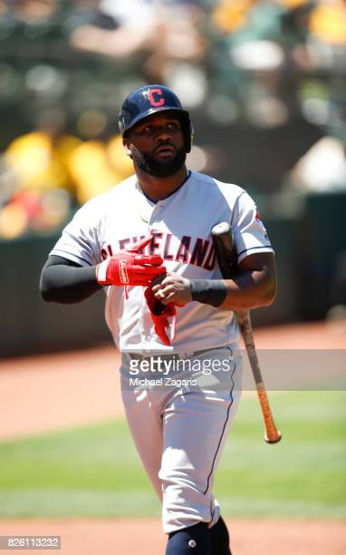 Abraham Almonte of the Cleveland Indians stands on the field during the game against the Oakland Athletics at the Oakland Alameda Coliseum on July 16...