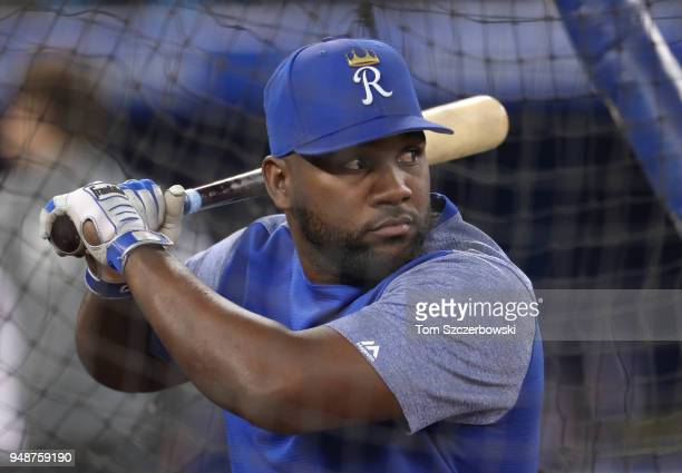 Abraham Almonte of the Kansas City Royals takes batting batting practice before the start of MLB game action against the Toronto Blue Jays at Rogers...