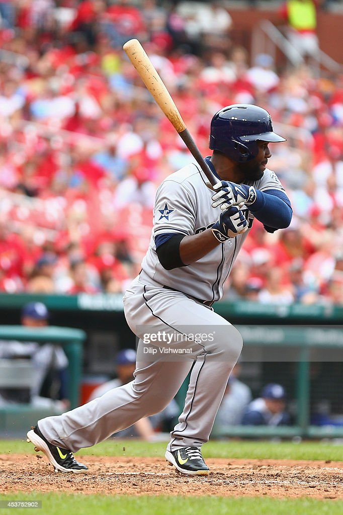 Abraham Almonte #16 of the San Diego Padres hits a two-RBI single against the St. Louis Cardinals in the ninth inning at Busch Stadium on August 17, 2014 in St. Louis, Missouri. The Cardinals beat the Padres 7-6.