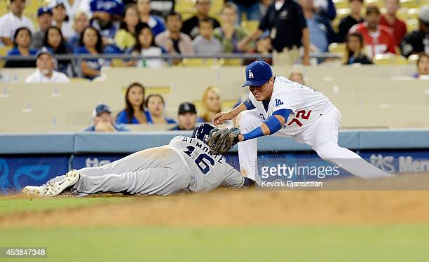Abraham Almonte of the San Diego Padres is picked off at third base by Miguel Rojas of the Los Angeles Dodgers to end the game but instant replay was...