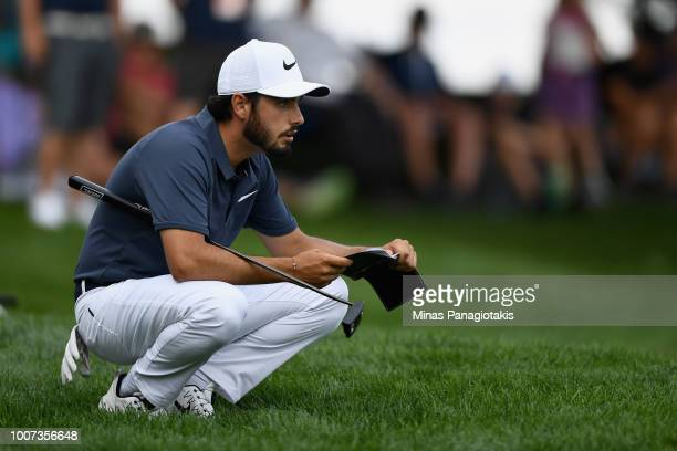 Abraham Ancer lines up a putt on the second hole during the final round at the RBC Canadian Open at Glen Abbey Golf Club on July 29 2018 in Oakville...