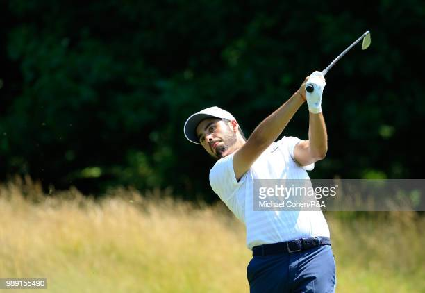 Abraham Ancer of Mexico hits his tee shot the third hole during the fourth and final round of the Quicken Loans National held at TPC Potomac at...