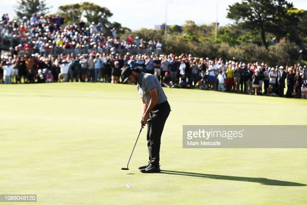 Abraham Ancer of Mexico holes a putt on the 18th hole to win the 2018 Australian Golf Open at The Lakes Golf Club on November 18 2018 in Sydney...