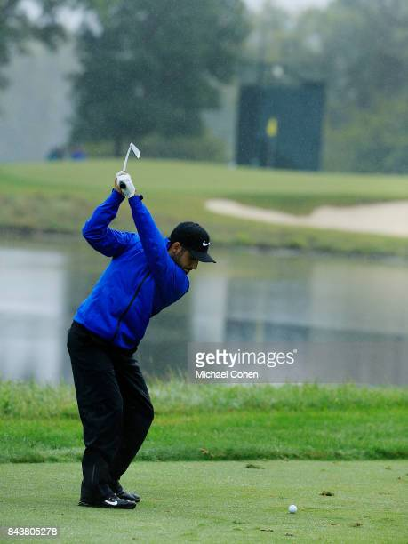 Abraham Ancer of Mexico htis a tee shot during the third round of the Nationwide Children's Hospital Championship held at The Ohio State University...