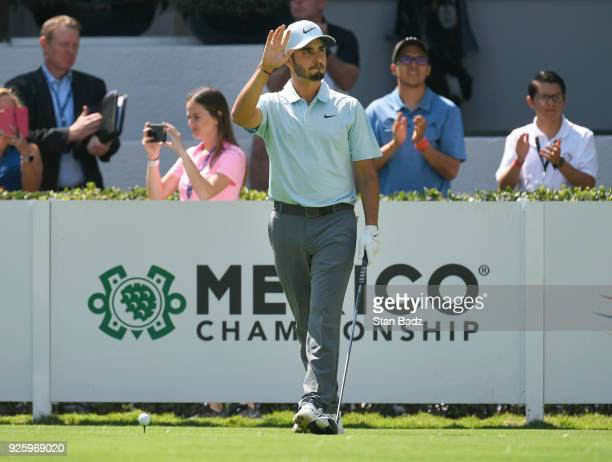 Abraham Ancer of Mexico is introduced on the first hole during round one of the World Golf ChampionshipsMexico Championship at Club de Golf...