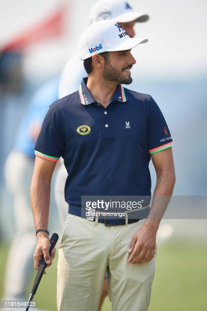Abraham Ancer of Mexico is pictured on the practice putting green during a practice round ahead of the 2019 Australian Golf Open at The Australian...